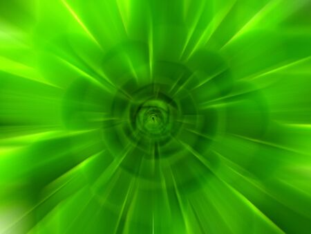 Abstract green zoom effect background. Digitally generated image. Rays of green light. Colorful radial blur, fast speed zooming motion, sunburst or starburst. Use for banner background Stok Fotoğraf