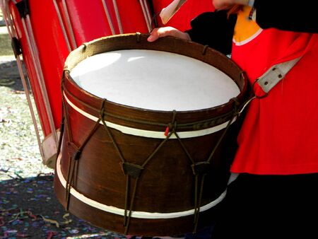 Handmade musical instruments in small form. Drum Stock Photo