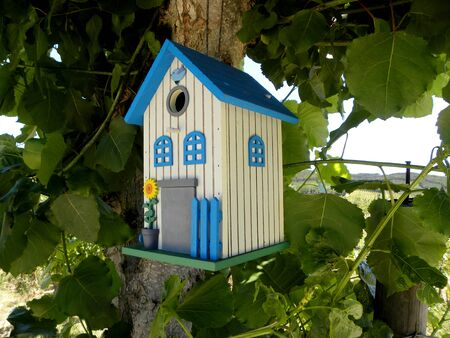 Cute blue and white decorative birdhouse in the branches of a tree.