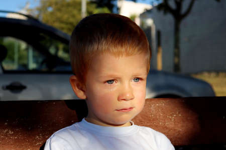 Portrait of a charming blond boy. A three-year-old boy with tears in his eyes. Sad boy looks into the distance.