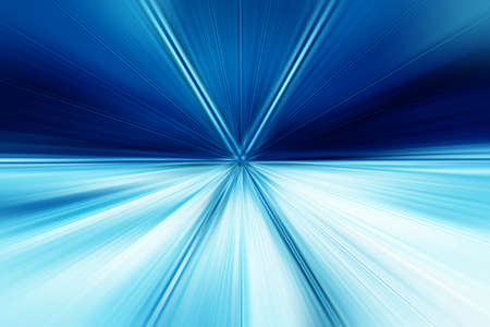 Abstract radial blur surface in dark blues and light blues tones. Abstract blue background with radial, radiating, converging lines. The background is divided into two parts.