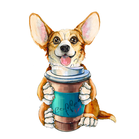 Picture of a dog of the Corgi breed. Red-haired puppy with tongue and big ears. with a cup of coffee in the paws. isolated on white background.