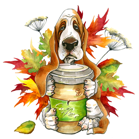 Dog breed Basset Hund. holding a glass of coffee. autumn leaves. Cute puppy. Isolated on white background. Archivio Fotografico - 107115789