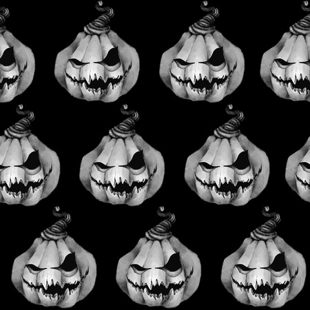 Seamless Pattern With Pumpkin Halloween Black And White Texture