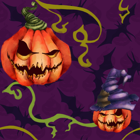 Seamless pattern orange pumpkin in a hat, bat. Sinister face on purple background.. Halloween Horror nightmare. fright Stock Photo