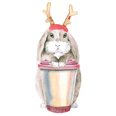 A lop-eared brown rabbit is sitting with a pink cup of coffee. watercolor. Isolated on white background. Christmas, new year, in a hat with horns of a deer.