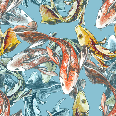 Seamless Pattern. Goldfish in the blue water. yellow fish. 스톡 콘텐츠