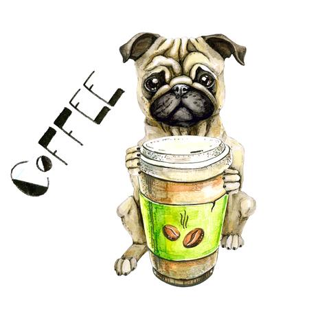 Pug rashond met een glas koffie geïsoleerd op een witte achtergrond Stockfoto