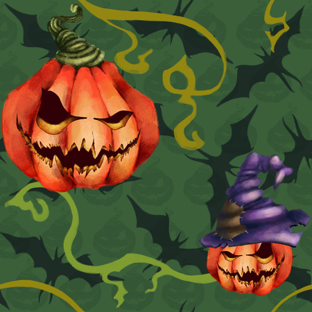 Seamless pattern orange pumpkin in a hat, bat. Sinister face on green. Halloween Horror nightmare.