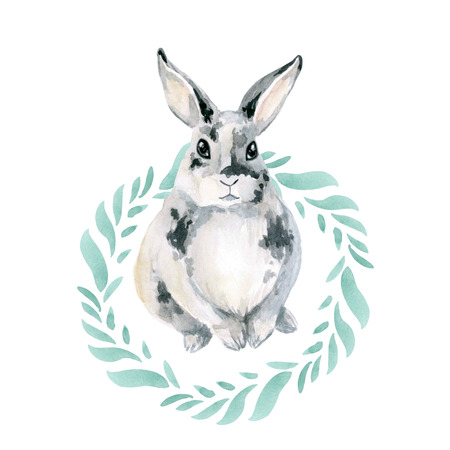 Cute little gray spotted rabbit in a round frame of green leaves. Hare isolated on white background.
