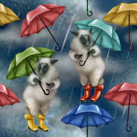 Sheep in rubber boots and with an umbrella. Seamless pattern on white background. dark cloudy sky it is raining.