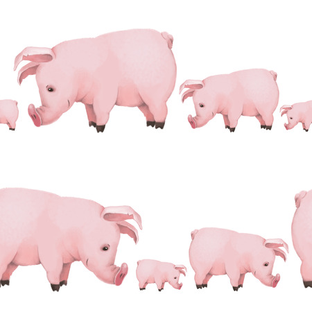 seamless pattern with little cute piglets on white background. family. symbol of 2019 Banco de Imagens