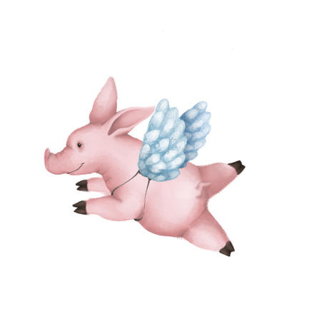 Cute pink pig with angel wings. Isolated on white background. symbol 2019 Banco de Imagens