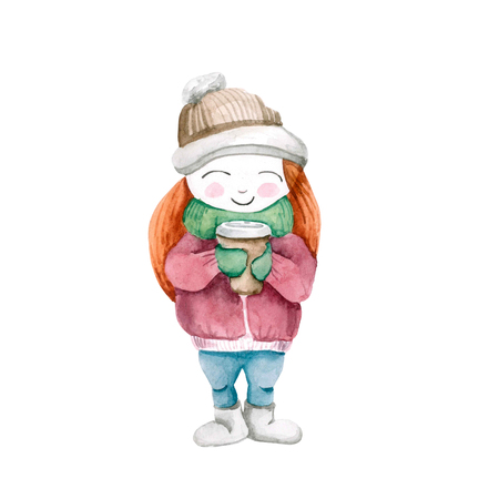 The girl in the cold winter in a jacket and hat with a cup of coffee in mittens. Isolated on white background. Watercolor. cute