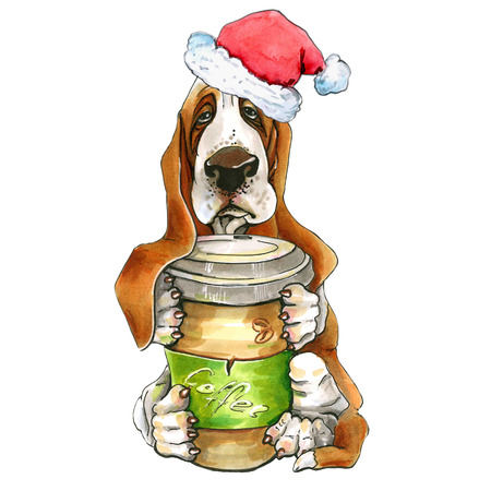 A dog of the basset hund breed with a mug of coffee and a Santa hat. Christmas illustration isolated on white background. New Year.