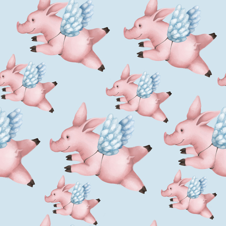 Seamless pattern with pigs with wings. Piggy angel flying in the sky on a blue background.