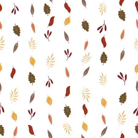 Seamless pattern with autumn leaves on a light background. Stock Photo