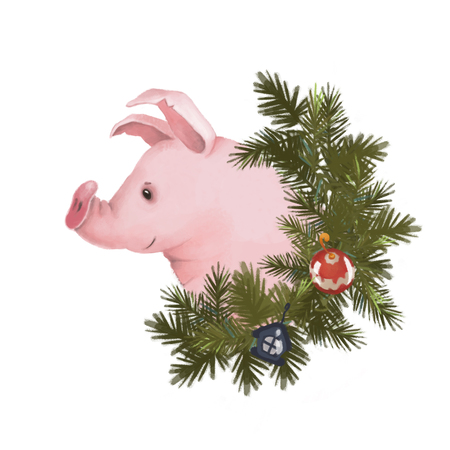 Pig in a Christmas wreath. Symbol of the new year 2019. Isolated on white background. holiday Stock Photo