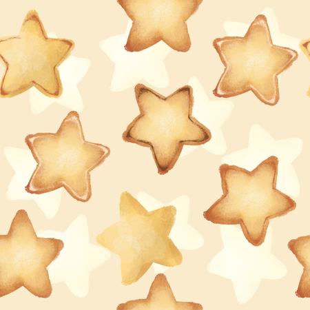 Shortbread Cookies in the form of stars. Sweet pastries. Seamless pattern.