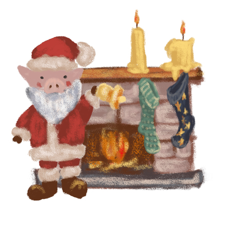 Pig Santa Claus near the fireplace. New Year. Christmas. Symbol 2019. Isolated on white background.