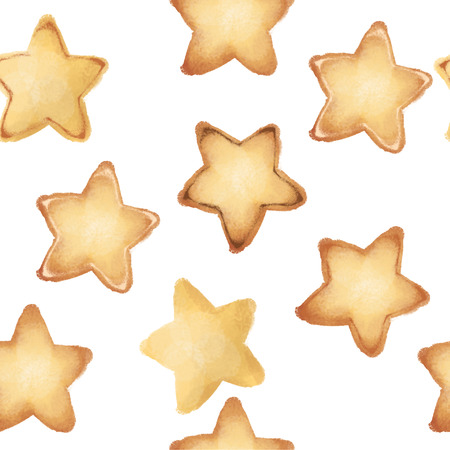 Shortbread Cookies in the form of stars. Sweet pastries. Seamless pattern. tasty