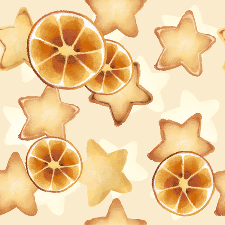 Shortbread Cookies in the form of stars. Sweet pastries. Seamless pattern. tasty orange slices