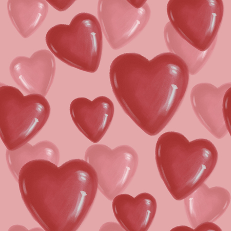 Seamless pattern with red hearts on a pink background to the day of Saint Valentine. red Foto de archivo - 115189427