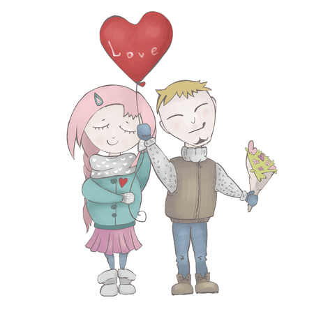 Couple in love boy and girl with a balloon on Valentines Day. Love and people. Illustration isolated on white background. Stock Photo