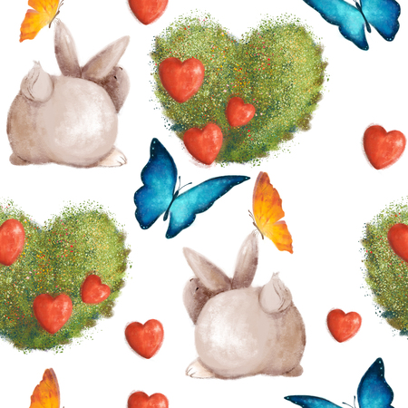 Cute seamless pattern with bunnies and a bush in the shape of a heart. Summert with colorful butterflies. 写真素材