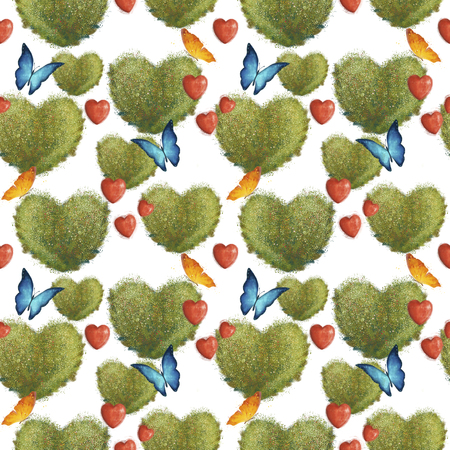 Seamless pattern with bushes in the form of hearts and butterflies. On a wight background. valentines day