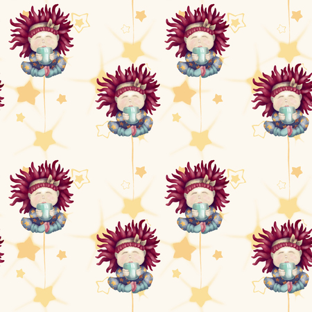 A girl with red hair. Baby with a mug. isolated on white background. seamless pattern good night sweetheart Archivio Fotografico