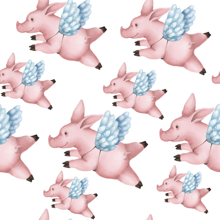 Seamless pattern with pigs with wings. Piggy angel flying in the sky on a white Banco de Imagens