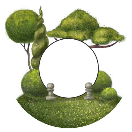 Round frame with trees around. The park is isolated on a white background. Stok Fotoğraf