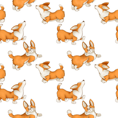 Seamless pattern with red cute dogs. Corgi puppies on a white background. set