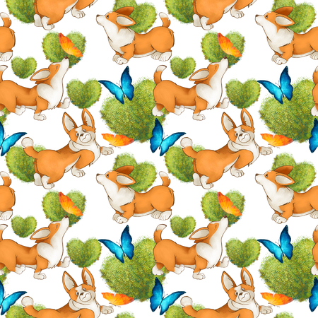 Seamless pattern with red cute dogs. Corgi puppies on a white background. butterflies and green leaves. nature