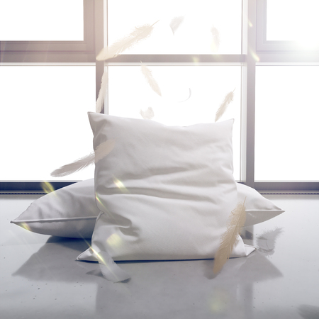 3d render Pillows and feathers on the background of the window. The sun shines brightly. Template for advertising.