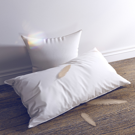 3d render White pillows and feathers are on the wooden floor. For sleep