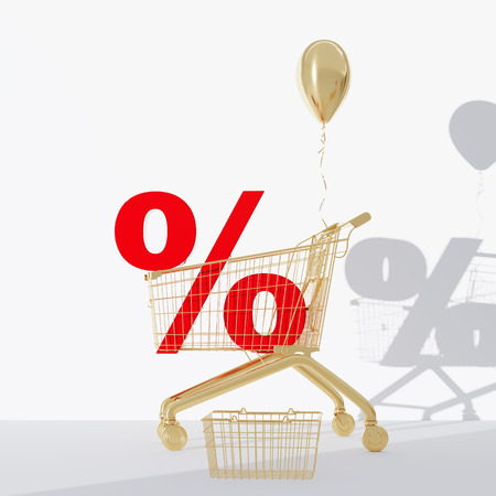 3d render Golden grocery cart with a percentage. balloon. A discount Zdjęcie Seryjne