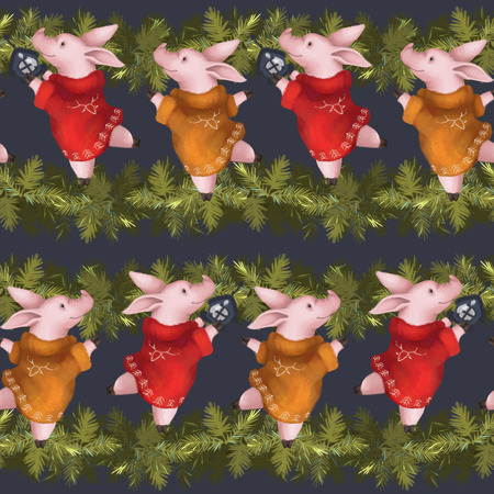 Seamless new year pattern. Piglets in sweaters with spruce Christmas garland. Symbol of the year