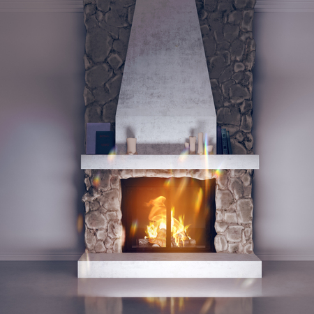 3d model of a fireplace made of stone. Fireside, chalet style in the interior. rendering