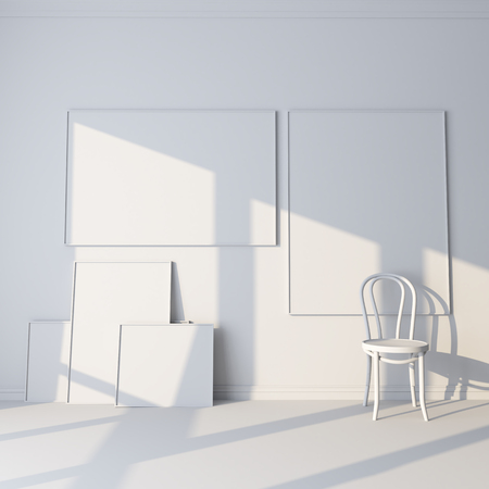 3d render Layout for advertisements, paintings and posters. White room with canvases and a chair.