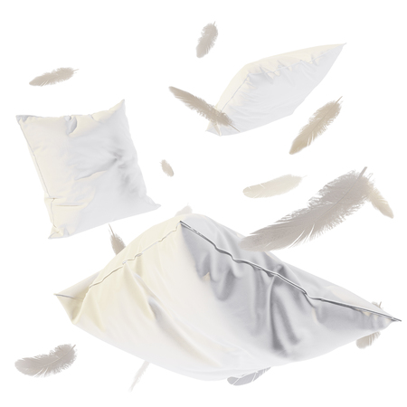 3d render Pillows and feathers in the air. Isolated on white background.