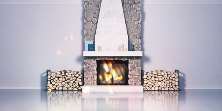 3d model of a fireplace made of stone and laying firewood. Fireside, chalet style in the interior. Zdjęcie Seryjne
