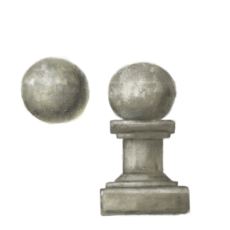 Baluster and a ball of plaster or stone. architectural element. The decoration is isolated Stock Photo