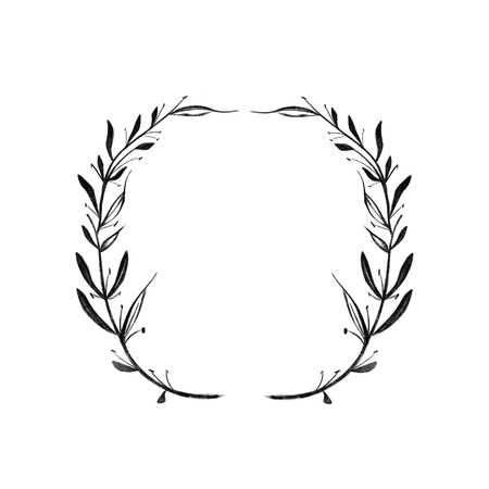 Round frame of two branches with leaves. Black graphic pattern handle. Isolated on white background. laurel wreath