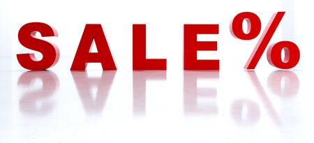 3D render the red word SALE and reflection . Sale in the store on a white background. Zdjęcie Seryjne