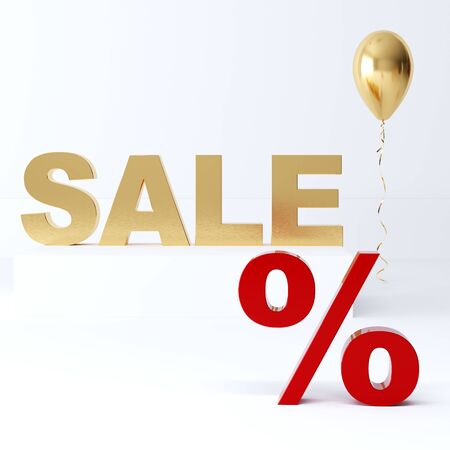 3D render the gold word SALE . Sale in the store on a white background.