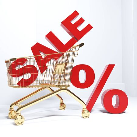 3D render the word SALE in a golden cart. Sale in the store on a white background. Zdjęcie Seryjne