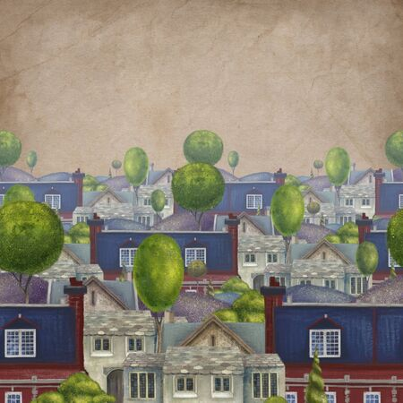 Seamless pattern with roofs of houses. Old fabulous English town. Illustration.