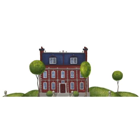 Red brick historic building with a blue roof. Mansion in the landscape. school, lyceum or hospital 18th century. Architectural composition isolated on white background. 스톡 콘텐츠